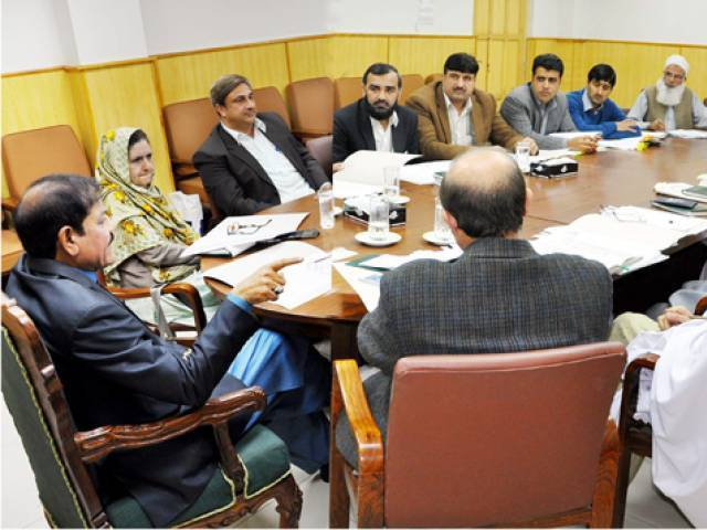 Special Assistant to CM Mushtaq Ahmed Ghani during a high-level meeting held in the city on Tuesday. PHOTO: EXPRESS