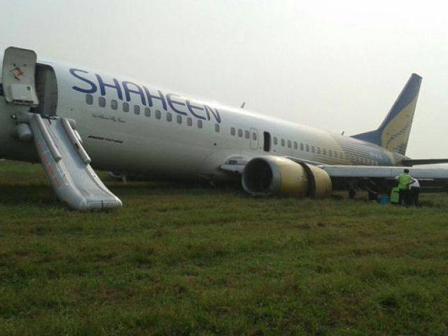 Flight NL-154 crash landed at Allama Iqbal International on November 3. PHOTO: MALIK SHAFIQ / EXPRESS