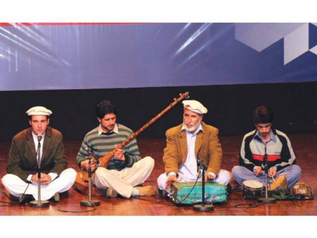 Musicians from Gilgit-Baltistan performance at the 4th Pakistan International Mother Languages Day & Gilgit-Baltistan and Chitral Cultural Festival – 2016 at PNCA. PHOTOS: MUHAMMAD JAVAID/ EXXPRESS