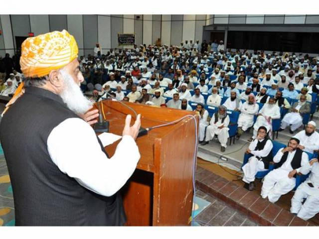 JUI-F Chief addressing party workers who were elected in the recently concluded local body elections in Sindh. PHOTO: ONLINE