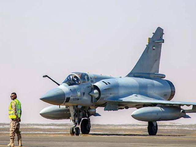 A Mirage 2000-9 of UAE air force prepares to take off during one of world's biggest military exercises. PHOTO: COURTESY DIRA'A AL WATAN
