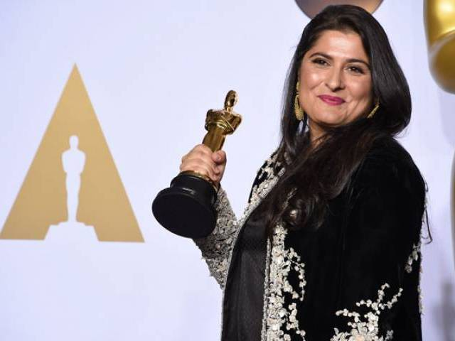 "Sharmeen Obaid-Chinoy poses with her Oscar for Best Documentary Short Subject, ""A Girl in the River: The Price of Forgiveness,"" in the press room during the 88th Oscars in Hollywood on February 28, 2016.  PHOTO: AFP"