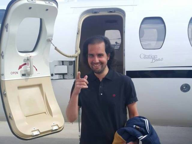 Shahbaz Taseer being flown home (Lahore) from Quetta in a special aircraft by int officials. PHOTO: ISPR