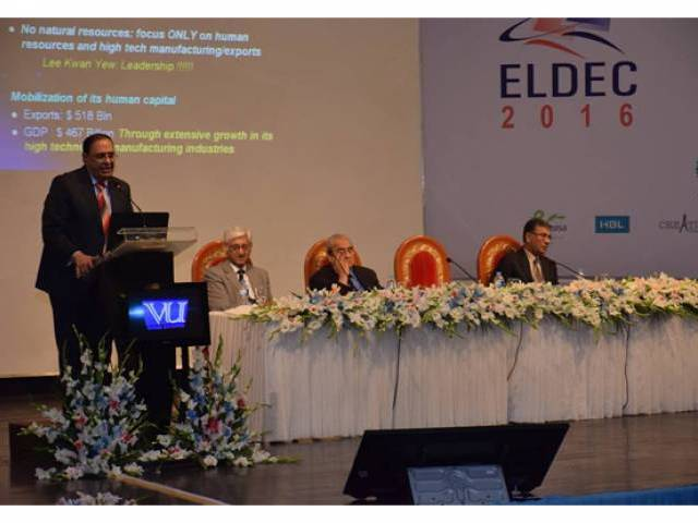 Dr. Atta ur Rehman delivers Opening Keynote on Science and Innovation: Imperatives of Socio-Economic Development. PHOTO: fb.com/ELDEC2016