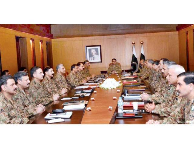 Chief of Army Staff General Raheel Shareef presides over the meeting of Corps Commanders in Karachi. PHOTO: APP