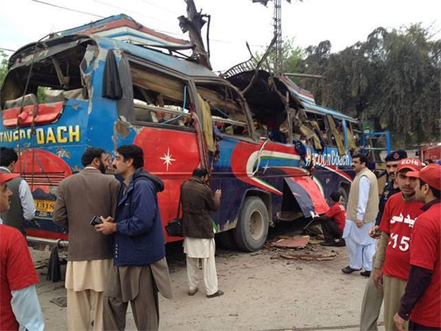 The blast was in a bus carrying employees of Civil Secretariat, government officials coming from Mardan. PHOTO: RIAZ AHMAD