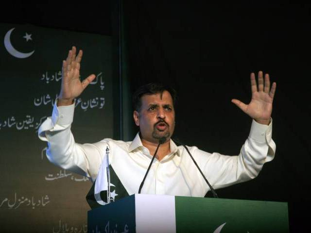 Mustafa Kamal addresses a press conference in Karachi on March 23, 2016. PHOTO: ATHAR KHAN/EXPRESS