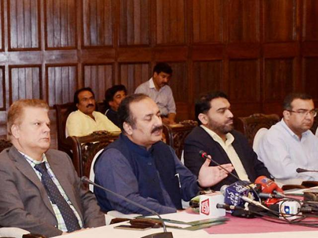 Tourism Minister Mashhood Ahmad Khan addressing a press conference. PHOTO: NNI