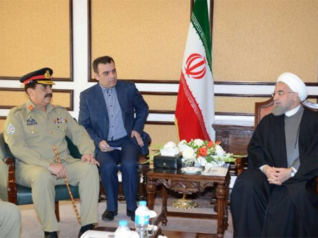 Hassan Rouhani lauds 'phenomenal achievements' of Pakistan Army. PHOTO: TWITTER @ASIM BAJWA