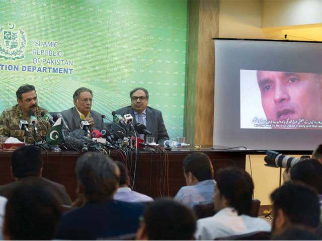Lt Gen Asim Bajwa speaks to the media at the screening of a confessional video of Kulbhushan Yadav. PHOTO: AFP