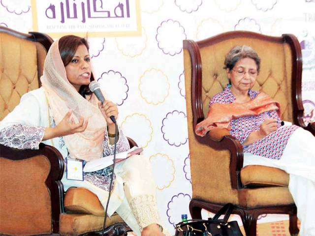 MNA Nafisa Shah addresses a session at the conference. PHOTO: ABID NAWAZ/EXPRESS
