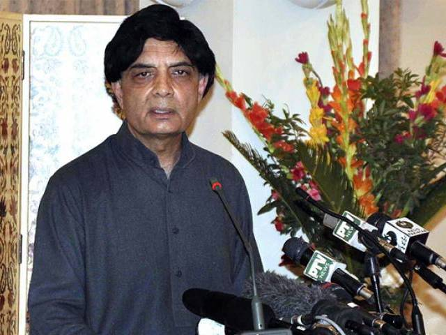 Interior Minister Chaudhary Nisa addressing a press conference. rPHOTO: APP