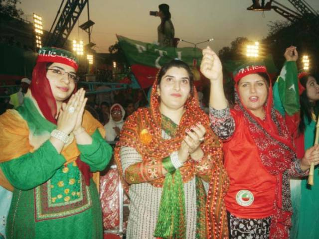 Women supporters at the Charing Cross rally. PHOTO: ABID NAWAZ/EXPRESS