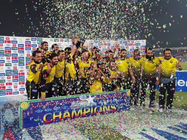 The Peshawar team celebrates their win over Punjab. PHOTO: fb.com/PCB