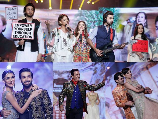 Bushra Ansari, Ahsan Khan, Urwa Hocane and Farhan Saeed held placards to raise awareness about child abuse. PHOTO: FILE