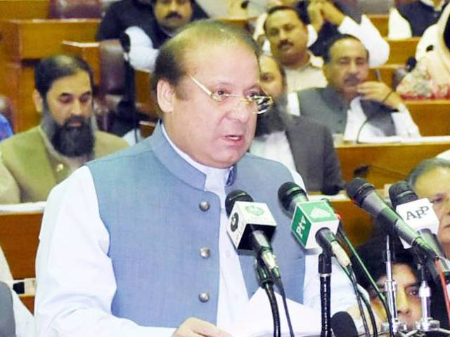 Prime Minister Nawaz Sharif addresses the National Assembly on Monday. PHOTO: PID