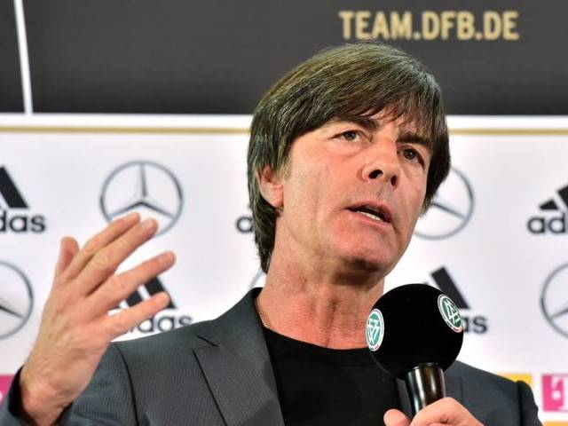 Germany's head coach Joachim Low speaks at a press conference to announce the squad for Euro 2016 in Berlin on May 17, 2016. PHOTO: AFP
