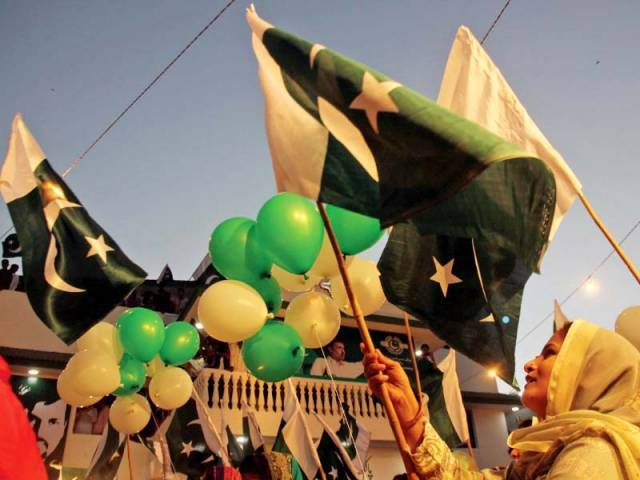 Pak Sarzameen Party's new office in PECHS was adorned with flags and speakers blaring songs praising former nazim. PHOTO: ATHAR KHAN/EXPRESS