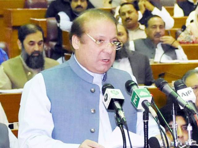 Prime Minister Nawaz Sharif addresses the National Assembly. PHOTO: PID