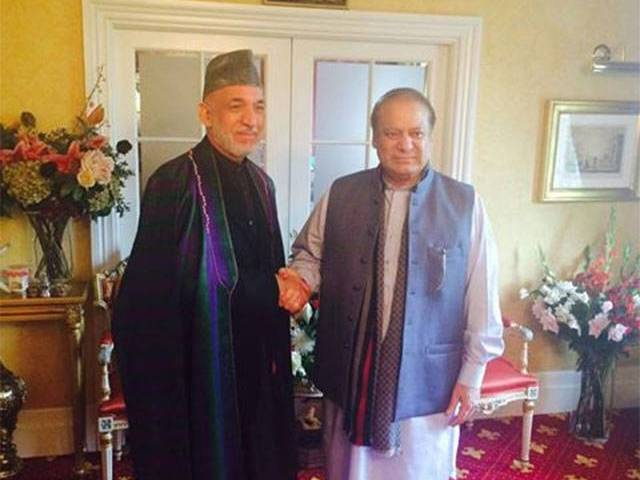 Hamid Karzai visits PM Nawaz in London to inquire about his health. PHOTO: FACEBOOK