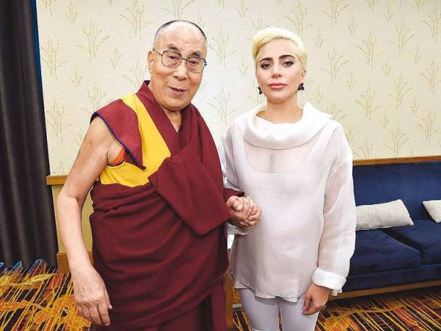 Gaga met the exiled Tibetan spiritual leader to discuss meditation and yoga. PHOTO: PUBLICITY