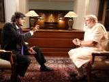 Indian Prime Minister Narendra Modi in an interview with Times Now correspondent Arnab Goswami. SCREEN GRAB