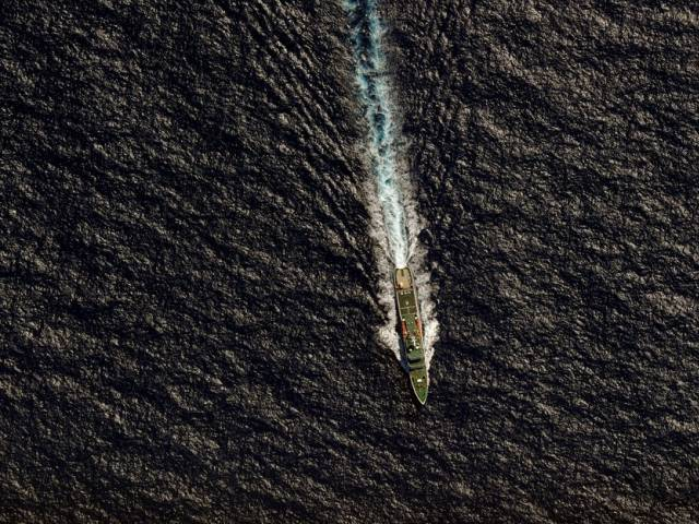 A Chinese ship steams through the southern Indian Ocean. PHOTO: REUTERS