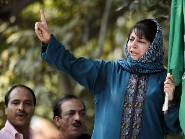 Mehbooba Mufti, president of People's Democratic Party (PDP), Kashmir's main opposition party, speaks after police stopped her protest march in Srinagar October 5, 2011. PHOTO: REUTERS