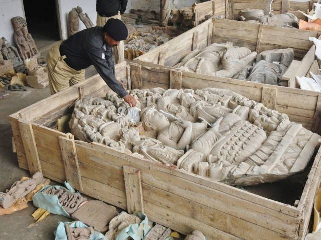 Police had seized a truck laden with 2000-year-old Gandhara civilisation relics on July 6. PHOTO: REUTERS