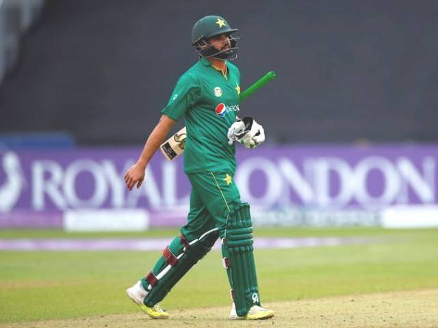 Pakistan's Azhar Ali looks dejected after losing his wicket in fifth ODI against England in Cardiff, Wales on September 04, 2016.  PHOTO: REUTERS