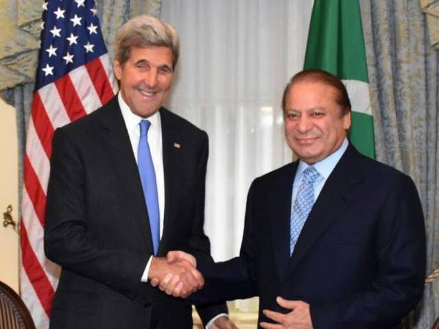 Prime Minister Nawaz Sharif meets US Secretary of State John Kerry in New York on Monday. PHOTO: PID