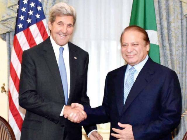 Secretary Kerry and Premier Nawaz shake hands before their meeting on the sidelines of the UN General Assembly session. PHOTO: APP