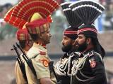 A file photo of Punjab Rangers and Indian BSF at the Wagah Border. PHOTO: AFP