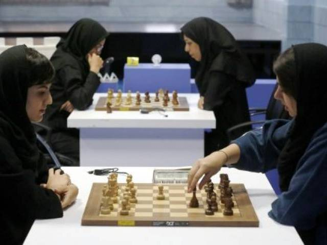 Iranian chess players opposed a campaign launched in the United States against the holding of the Women's World Championship in February in Tehran. PHOTO: AFP