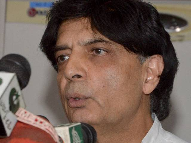 Federal Interior Minister Chaudhry Nisar Ali Khan addressing a press conference at Nadra headquarters in Islamabad on Thursday October 13, 2016. PHOTO: MUDASSAR RAJA / EXPRESS