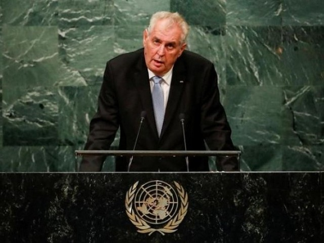 Czech Republic's President Milos Zeman addresses the United Nations General Assembly in the Manhattan. PHOTO: REUTERS