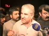 PTI leader Shah Mehmood Qureshi talks to media. SCREEN GRAB