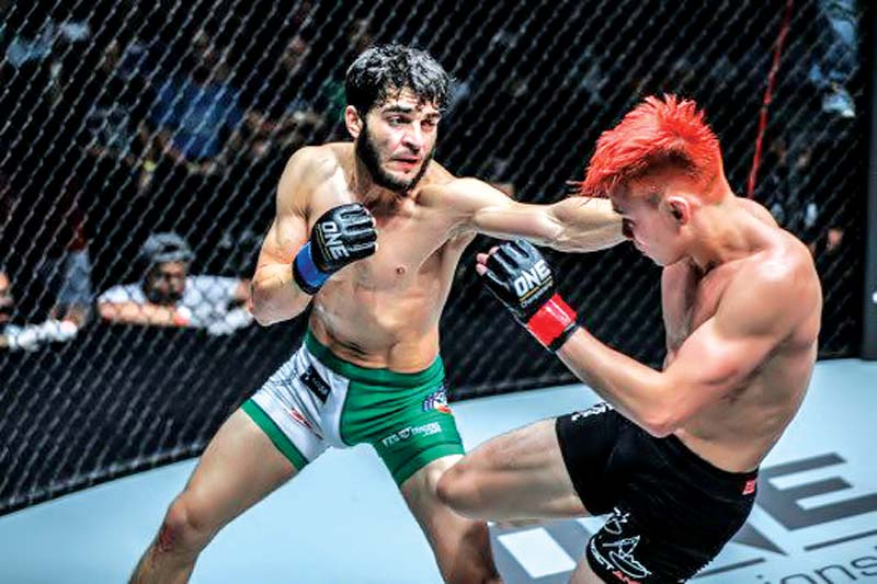 Like the seven opponents before him, Benedict Ang was no match for Mujtaba's deft combination of speed and power. PHOTO COURTESY: ONE CHAMPIONSHIP