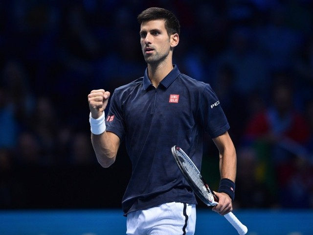 Novak Djokovic after going 3-3 in a first set tie-break against Milos Raonic in London on November 15, 2016. PHOTO: AFP