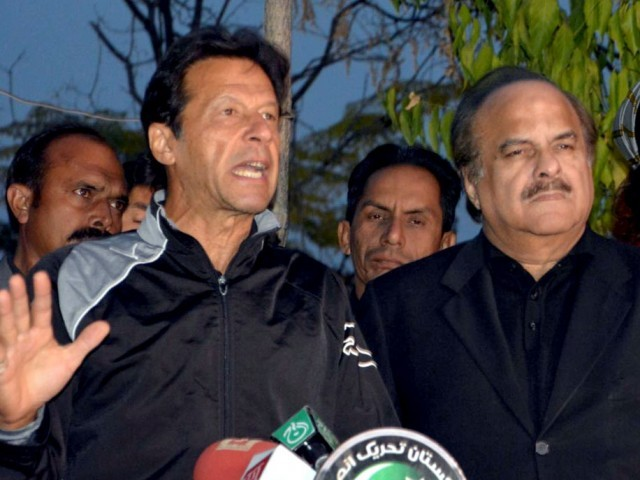Imran Khan addresses media in Islamabad on Tuesday. PHOTO: MUDASSIR RAJA/EXPRESS