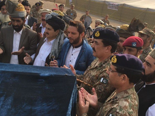 Shahid Afridi and Raheel Sharif in Khyber Agency. PHOTO: Shahid Afridi