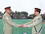 Gen Raheel hands over the baton of command to Gen Qamar at a formal ceremony at GHQ. PHOTO: APP