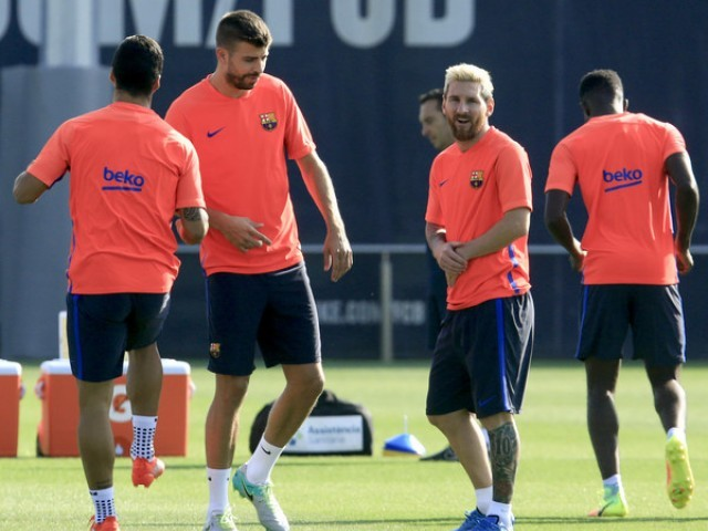 Barcelona players training. PHOTO: AFP