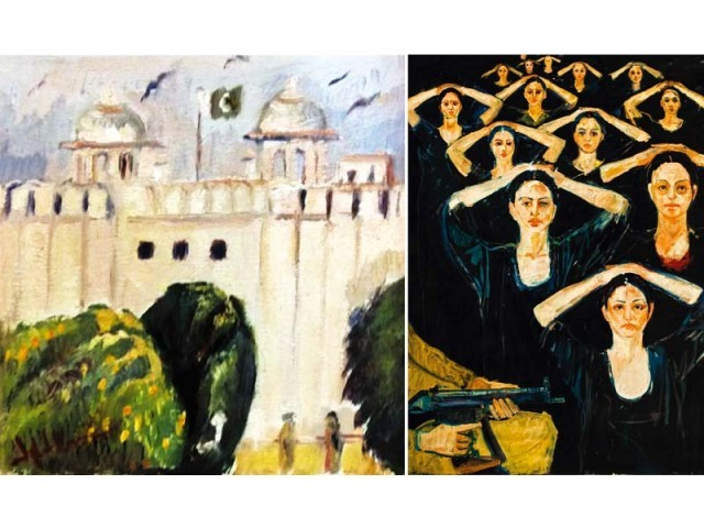 The women in Iqbal Hussain's paintings are either posed hugging each other, sitting cross-legged, reclined on a bed or being beaten by other women. PHOTOS: COURTESY CLIFTON ART GALLERY