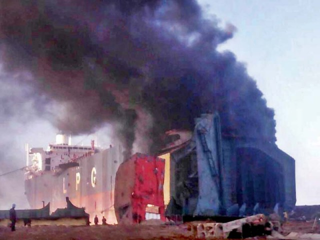The fire broke out in a dismantled ship in Gadani on Thursday. PHOTO: ONLINE