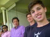 PTI chairman Imran Khan with his sons. PHOTO: TWITTER