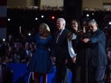 U.S. President Barack Obama along with first lady Michelle Obama, daughter Malia Obama, Vice President Joe Biden and his wife Dr. Jill Biden wave goodbye to supporters after Obama's farewell address at McCormick Place on January 10, 2017 in Chicago, Illinois. PHOTO: AFP