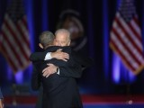 President Barack Obama embraces Vice President Joe Biden after Obama delivered his farewell speech to the nation on January 10, 2017 in Chicago, Illinois. President-elect Donald Trump will be sworn in the as the 45th president on January 20. PHOTO:AFP