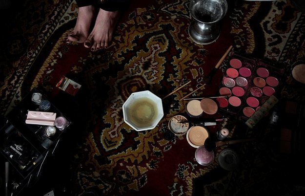Make up lies on the floor as members of the transgender community prepare for Shakeela's party in Peshawar, Pakistan January 22, 2017. PHOTO: REUTERS