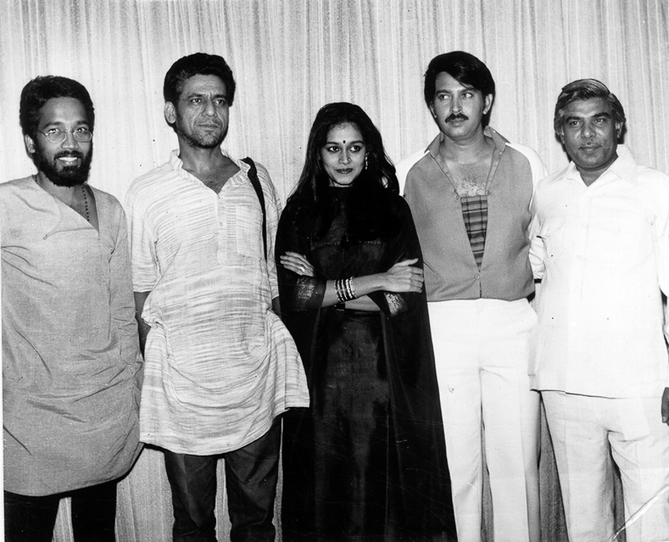 Director Shashi Lal Nair, Om Puri, Supriya Pathak, Rakesh Roshan and Producer BS Grover on the set of film BAHU KI AWAAZ. Express archive photo